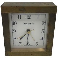 1950s Tiffany & Co. Modern Brass Desk Clock