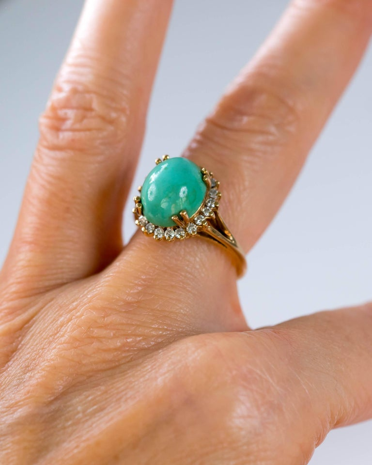 1950s Tiffany & Co. Persian Turquoise Cabochon Diamond Halo 14 Karat Gold Ring For Sale 6