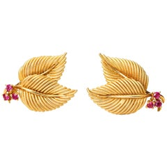 1950s Tiffany & Co Ruby Leaf Motif 18 Karat Yellow Gold Earrings
