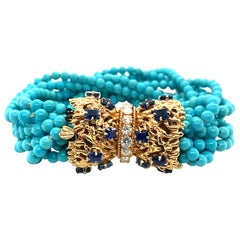 1950s Tiffany & Company Turquoise Diamond and Sapphire Bracelet
