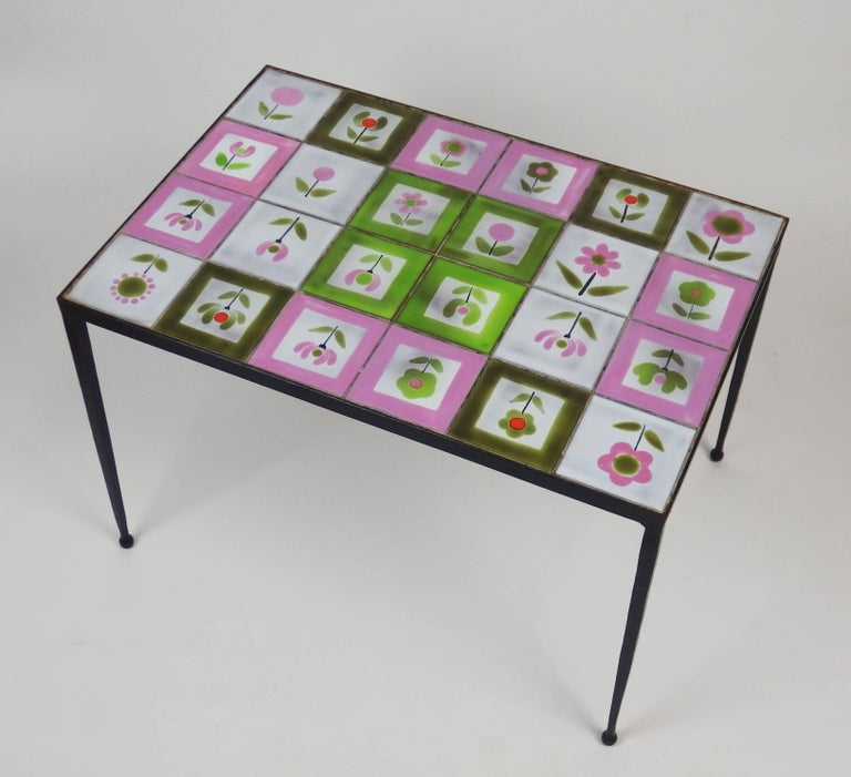 French 1950s Tiles Coffee Table in the Style of the