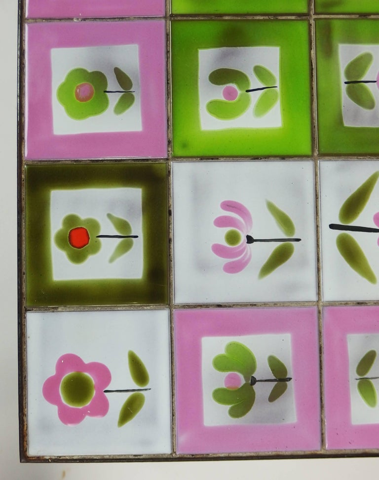 Enameled 1950s Tiles Coffee Table in the Style of the