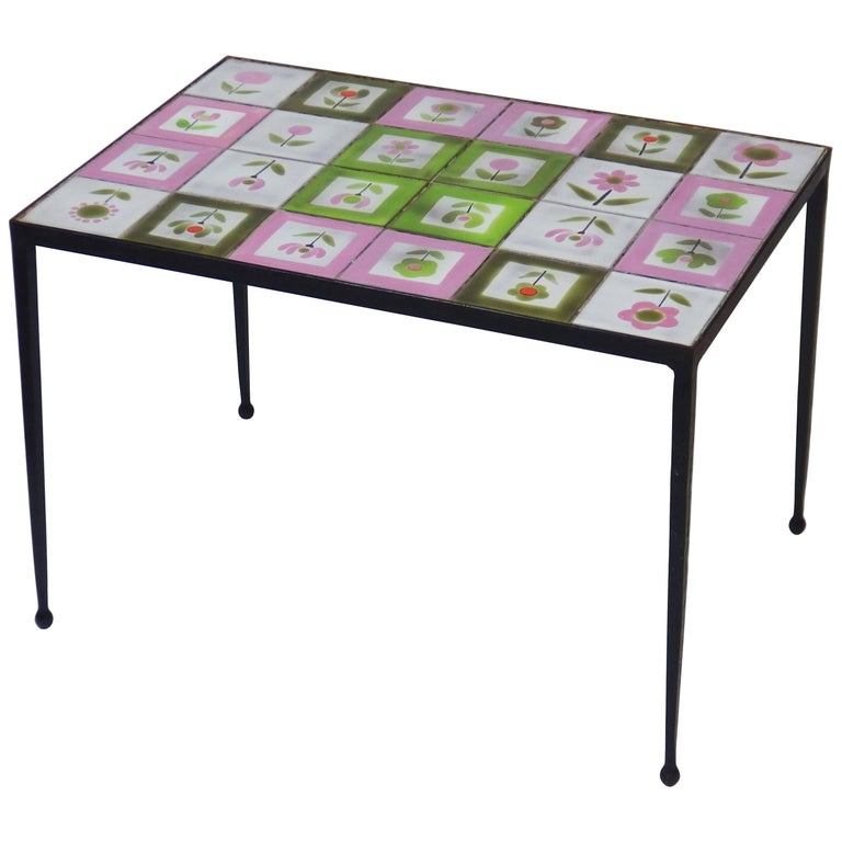 """1950s Tiles Coffee Table in the Style of the """"Quatre Potiers"""" For Sale"""