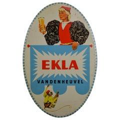 1950s Tin Advertising Beer Sign for Belgian Beer Ekla, Brewery Vandenheuvel