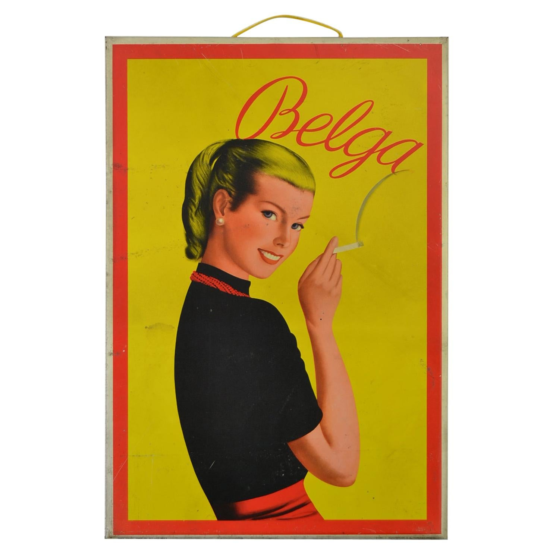 1950s Tin Advertising Sign for Belga Cigarettes, Belgium