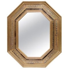 1950s Tin Brass Octagonal Mirror from Spain