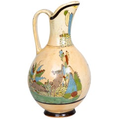 1950s Tlaquepaque Mexican Hand Painted Ceramic Water Pitcher