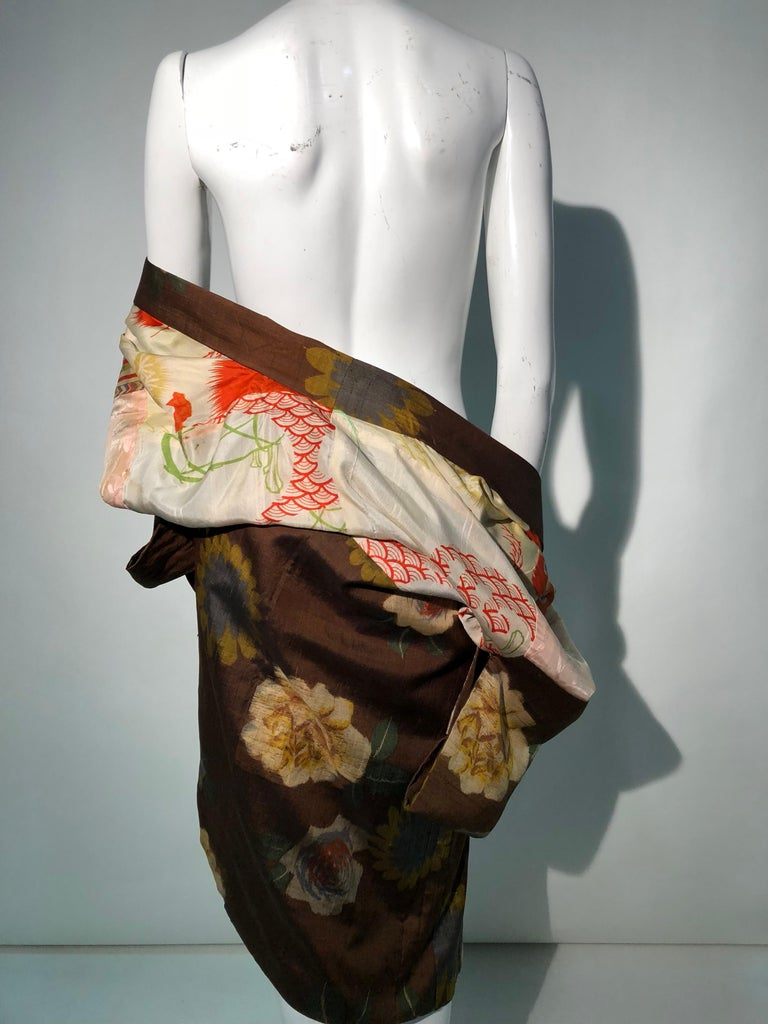 1950s Tobacco Brown Silk Kimono W/ Autumnal Floral Pattern & Contrasting Lining 10