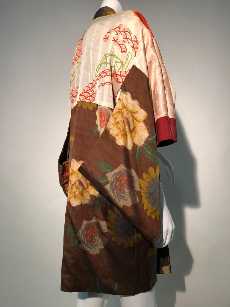 1950s Tobacco Brown Silk Kimono W/ Autumnal Floral Pattern & Contrasting Lining 11