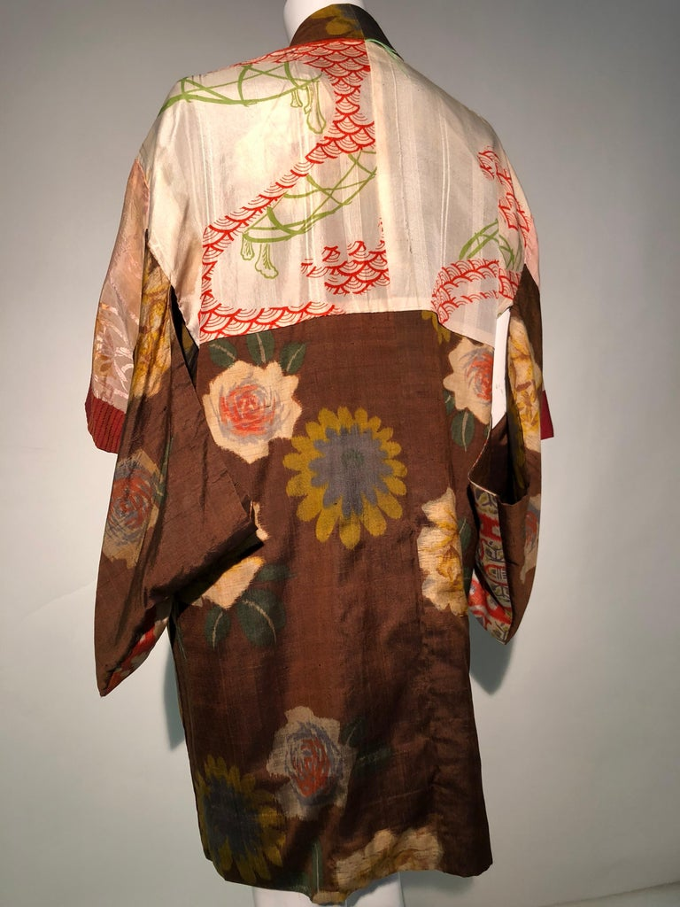 1950s Tobacco Brown Silk Kimono W/ Autumnal Floral Pattern & Contrasting Lining 12