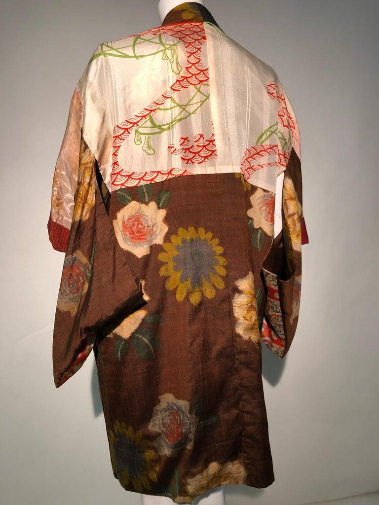 1950er Jahren Tabak Braun Seide Kimono W / herbstliche Blumenmuster und Kontrast Futter 12