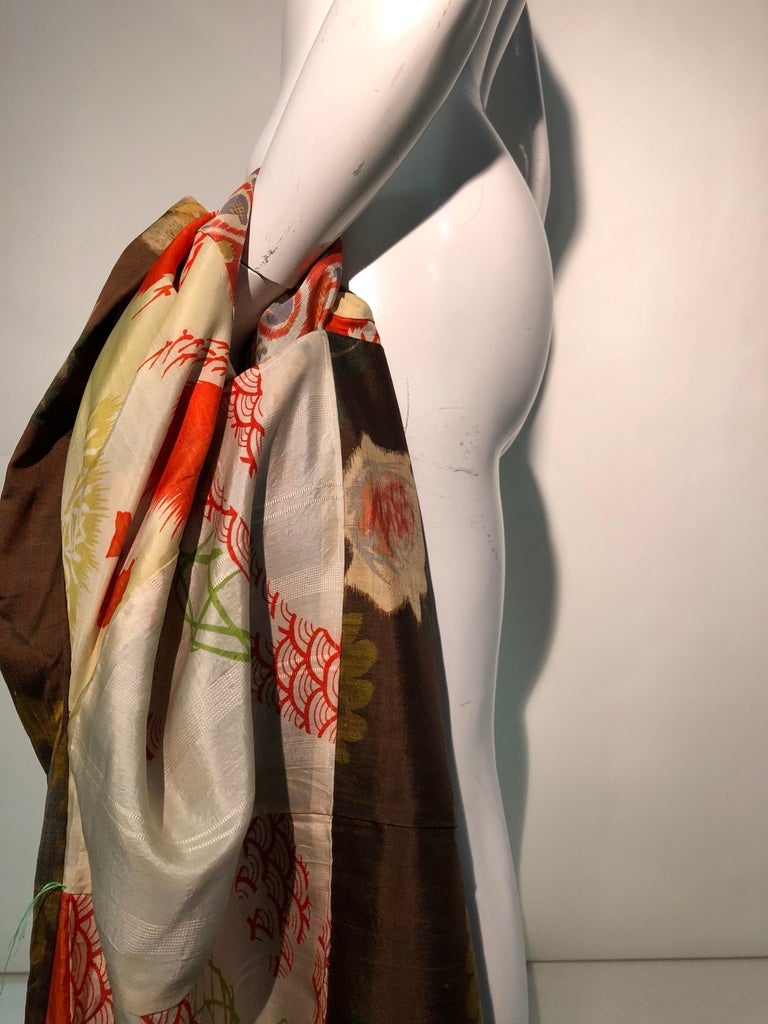 1950s Tobacco Brown Silk Kimono W/ Autumnal Floral Pattern & Contrasting Lining 13