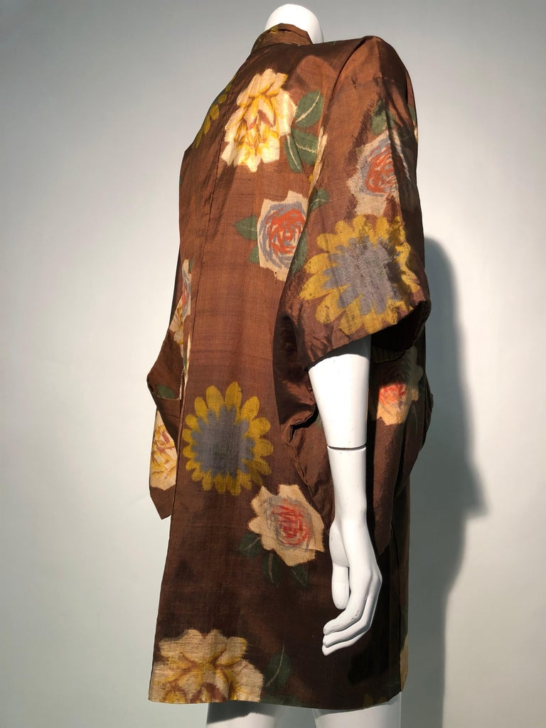 1950s Tobacco Brown Silk Kimono W/ Autumnal Floral Pattern & Contrasting Lining 5