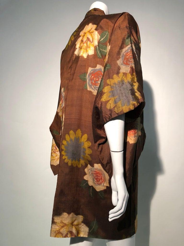 1950er Jahren Tabak Braun Seide Kimono W / herbstliche Blumenmuster und Kontrast Futter 5