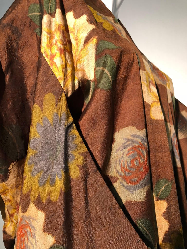 1950s Tobacco Brown Silk Kimono W/ Autumnal Floral Pattern & Contrasting Lining 6