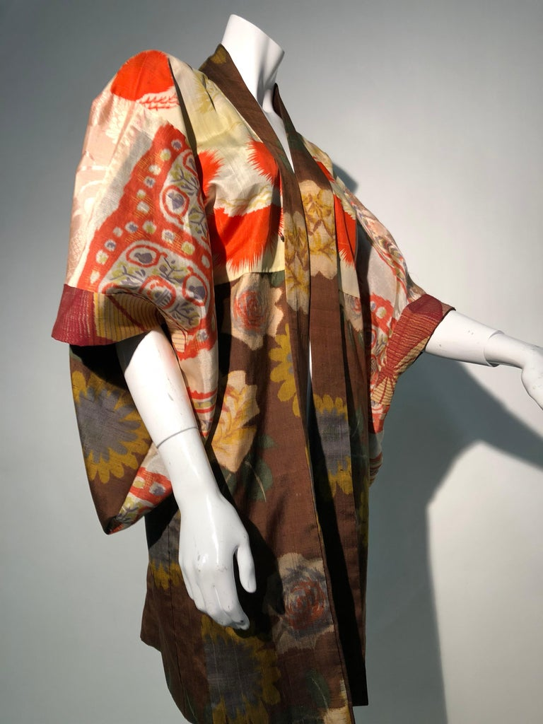 1950s Tobacco Brown Silk Kimono W/ Autumnal Floral Pattern & Contrasting Lining 8
