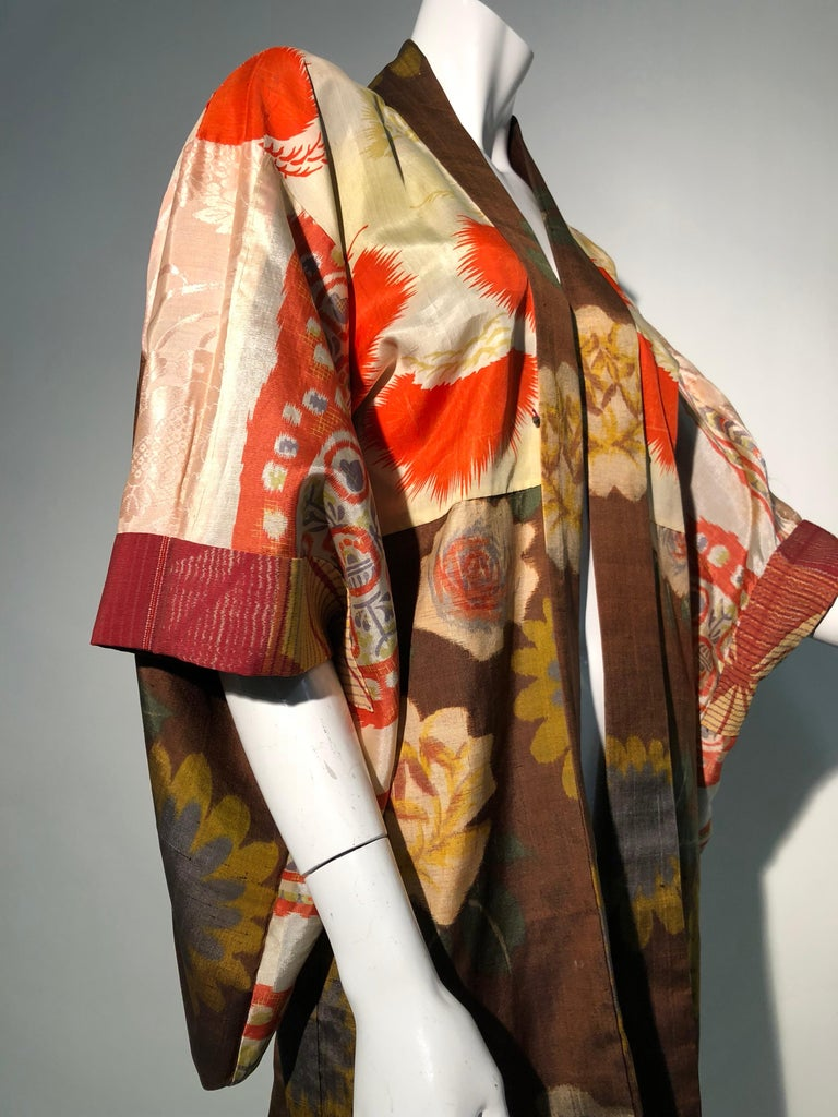1950s Tobacco Brown Silk Kimono W/ Autumnal Floral Pattern & Contrasting Lining 9