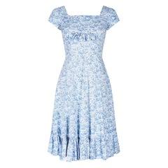 1950s Toile de Jouy Blue and White Cotton Dress