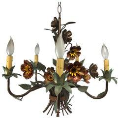1950s Tole Floral Chandelier