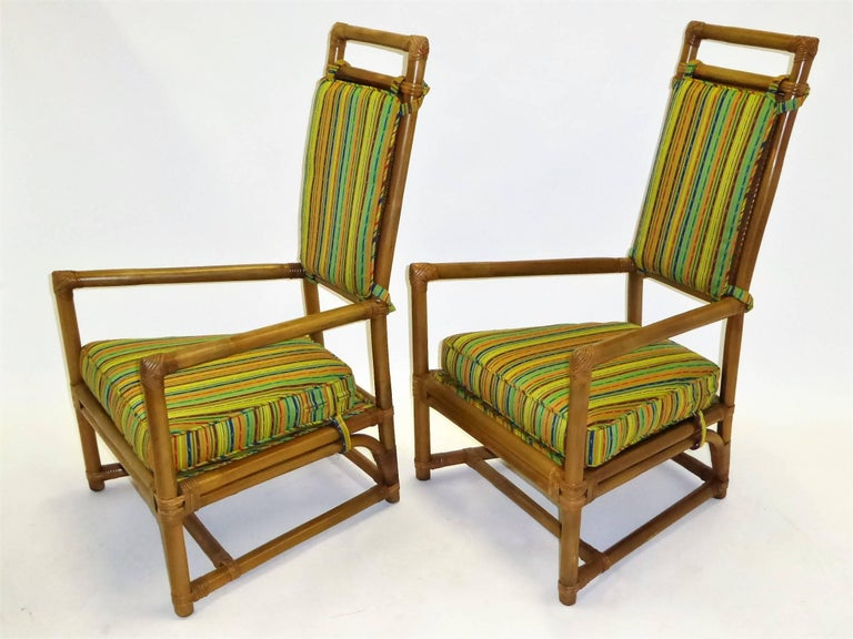 1950s Henry Olko Mid Century Rattan Throne Chairs for Willow and Reed For Sale 5