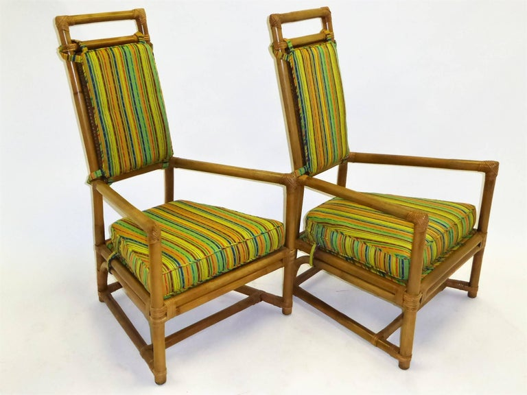 1950s Henry Olko Mid Century Rattan Throne Chairs for Willow and Reed For Sale 6