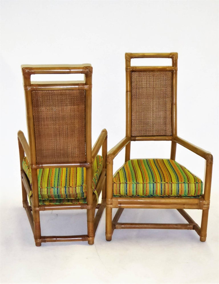 1950s Henry Olko Mid Century Rattan Throne Chairs for Willow and Reed For Sale 7