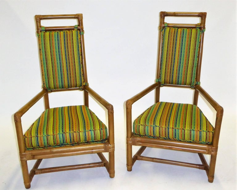 1950s Henry Olko Mid Century Rattan Throne Chairs for Willow and Reed For Sale 8