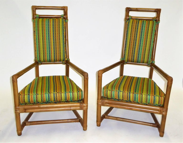 1950s Henry Olko Mid Century Rattan Throne Chairs for Willow and Reed For Sale 9