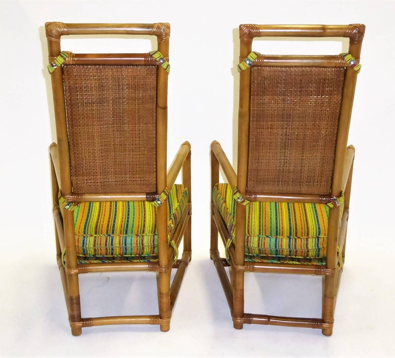 1950s Henry Olko Mid Century Rattan Throne Chairs for Willow and Reed For Sale 10