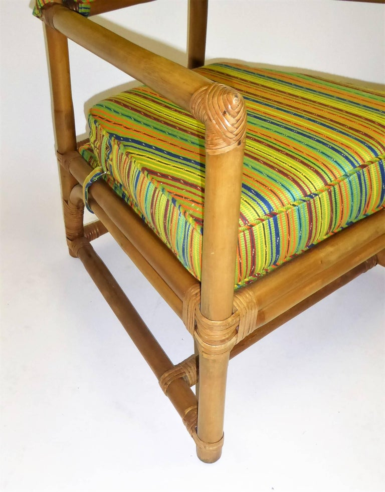1950s Henry Olko Mid Century Rattan Throne Chairs for Willow and Reed For Sale 11