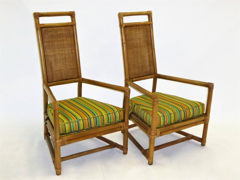 Mid-Century Modern 1950s Henry Olko Mid Century Rattan Throne Chairs for Willow and Reed For Sale