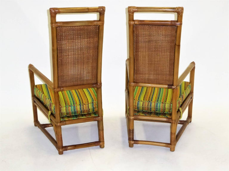 American 1950s Henry Olko Mid Century Rattan Throne Chairs for Willow and Reed For Sale