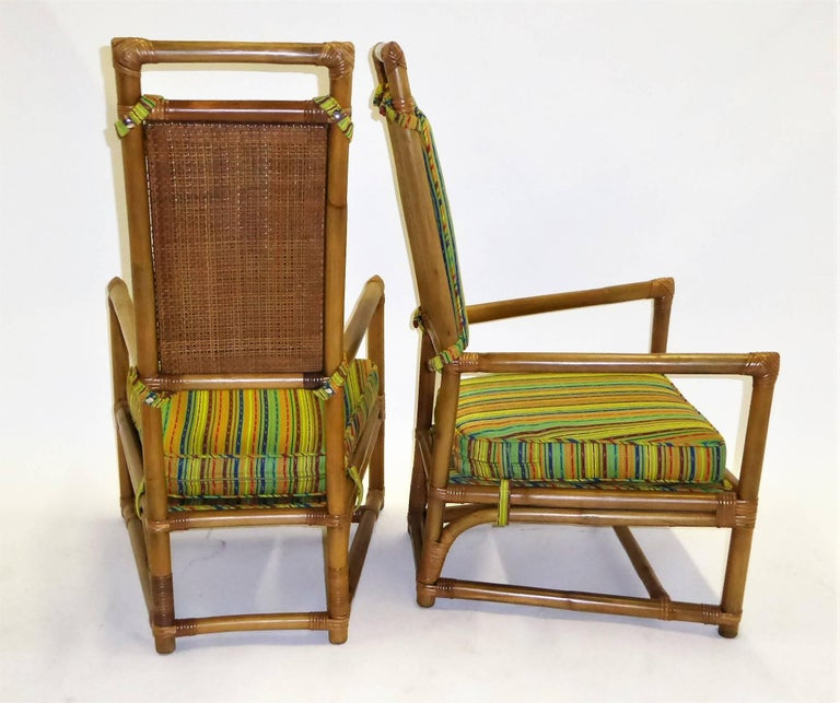 1950s Henry Olko Mid Century Rattan Throne Chairs for Willow and Reed In Excellent Condition For Sale In Miami, FL