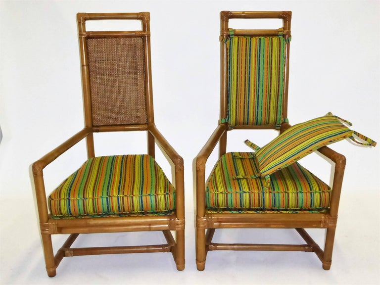Mid-20th Century 1950s Henry Olko Mid Century Rattan Throne Chairs for Willow and Reed For Sale