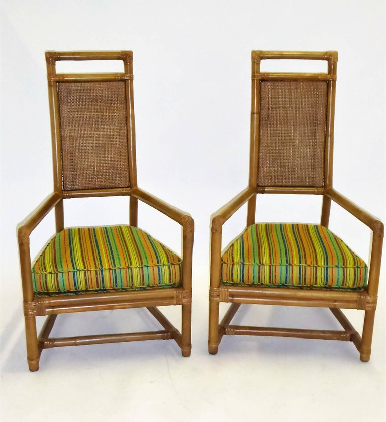 1950s Henry Olko Mid Century Rattan Throne Chairs for Willow and Reed For Sale 2