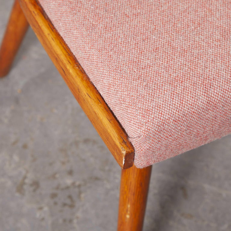 1950s ton upholstered dining chairs by Radomir Hoffman – Pair. These chairs were produced by the famous Czech firm Ton, still trading today and producing beautiful chairs, they are an offshoot of Thonet. This model was a dining staple in many