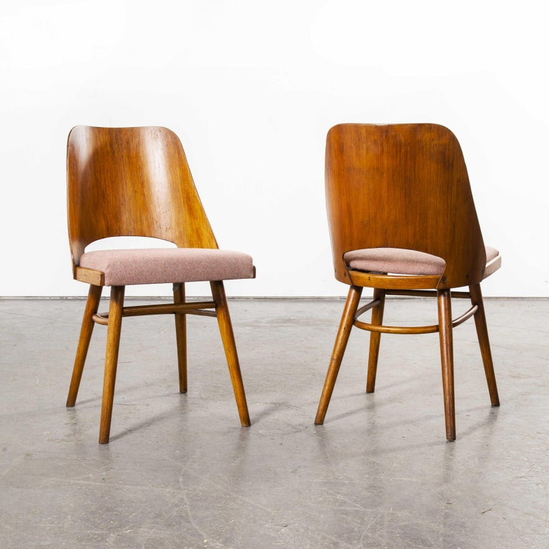 Mid-20th Century 1950s Ton Upholstered Dining Chairs by Radomir Hoffman, Pair