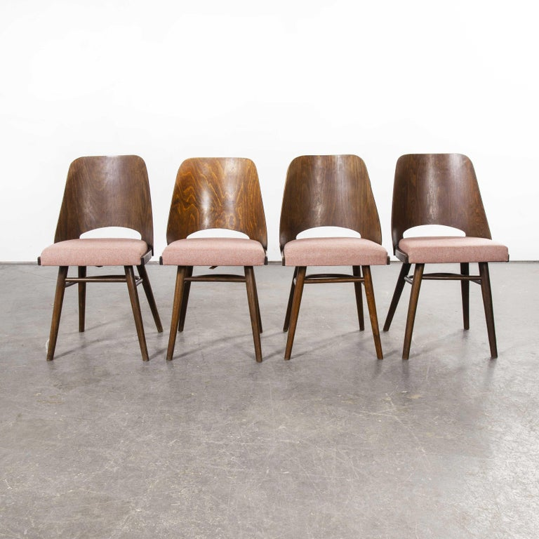 Czech 1950s Ton Upholstered Dining Chairs by Radomir Hoffman, Set of Four For Sale