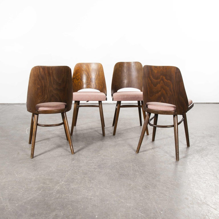 1950s Ton Upholstered Dining Chairs by Radomir Hoffman, Set of Four In Good Condition For Sale In Hook, Hampshire