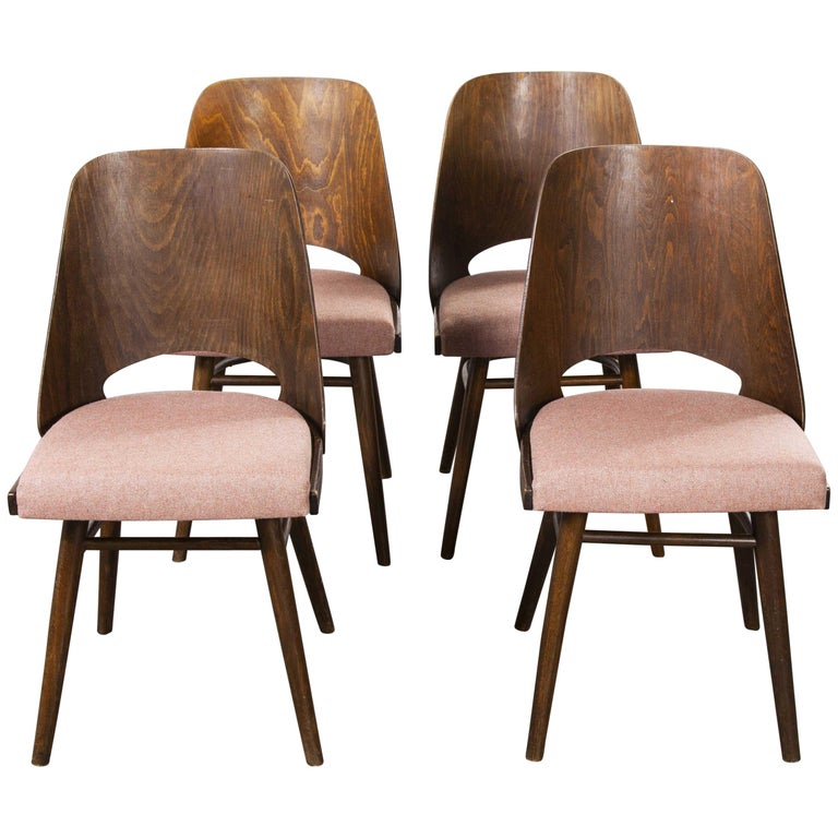1950s Ton Upholstered Dining Chairs by Radomir Hoffman, Set of Four For Sale