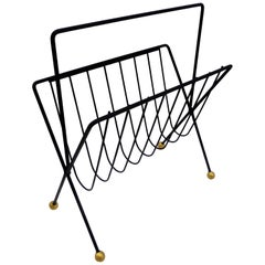 1950s Tony Paul Steel Wire Magazine Rack