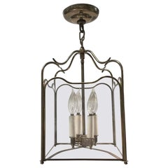 1950s Traditional Foyer Pendant Lantern Light in a Polished Brass Finish