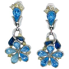1950s Trifari by Alfred Philippe Blue Rhinestone Vintage Flower Clip On Earrings