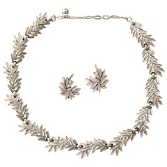 1950s Trifari Organic Modern Silver Leaf Necklace & Earrings Set