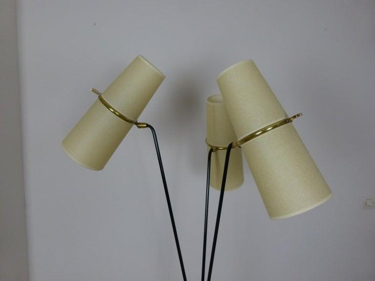 1950s Triple Lighting Floor Lamp by Maison Lunel For Sale 3
