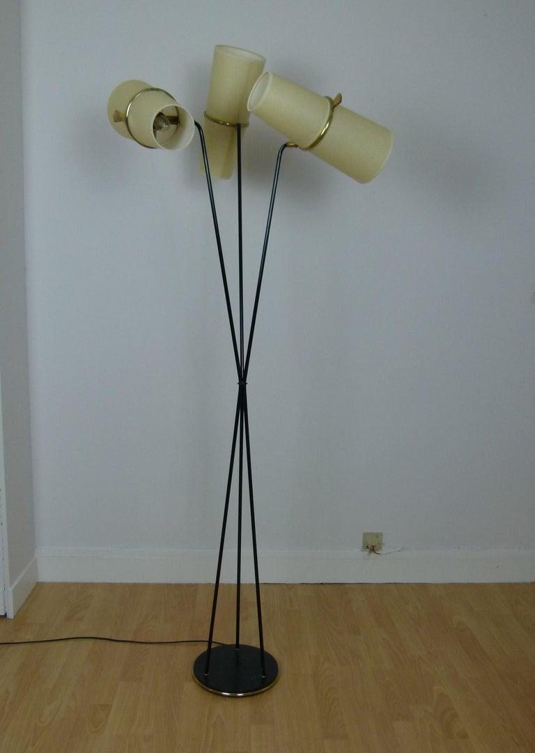 1950s Triple Lighting Floor Lamp by Maison Lunel For Sale 4