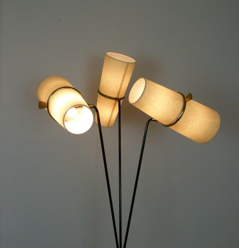 1950s Triple Lighting Floor Lamp by Maison Lunel For Sale 5
