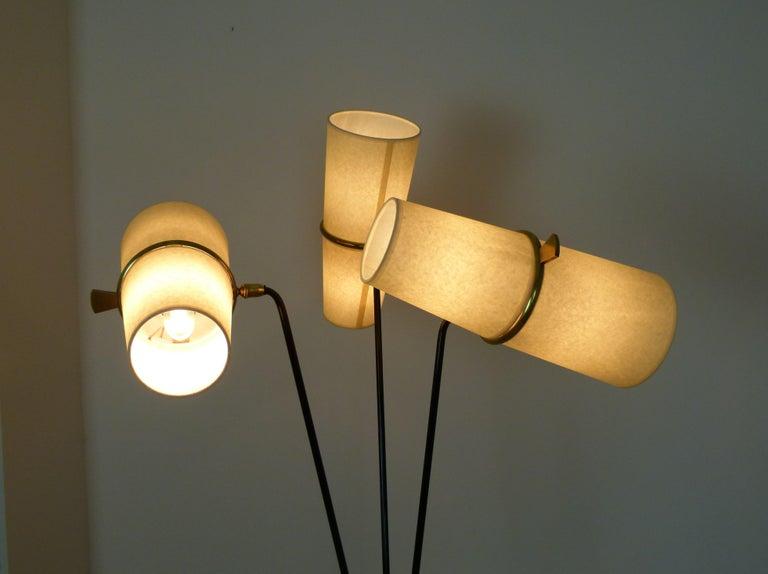 1950s Triple Lighting Floor Lamp by Maison Lunel For Sale 6
