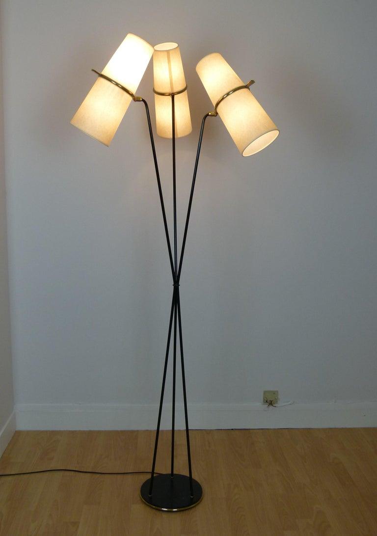 1950s Triple Lighting Floor Lamp by Maison Lunel For Sale 7