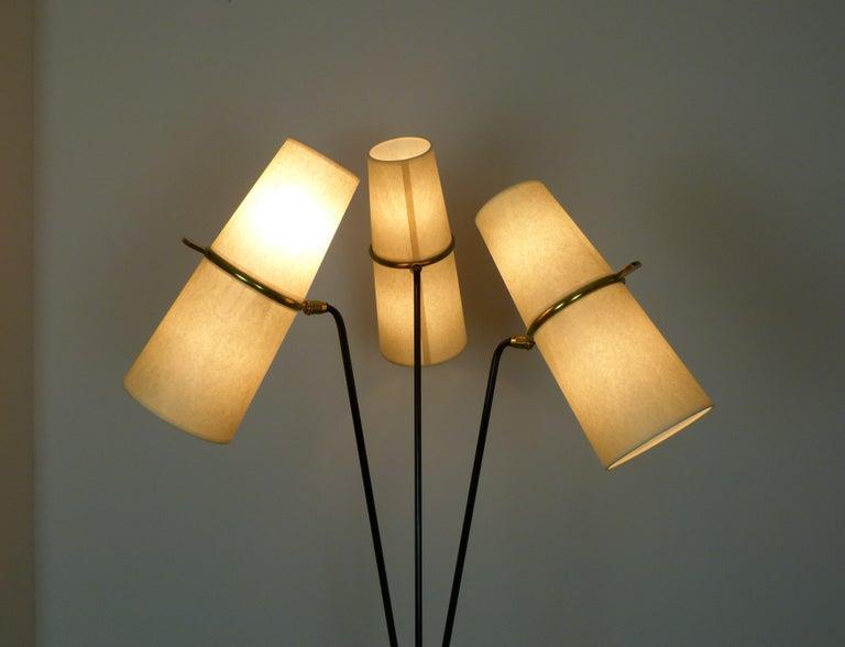 1950s Triple Lighting Floor Lamp by Maison Lunel For Sale 8